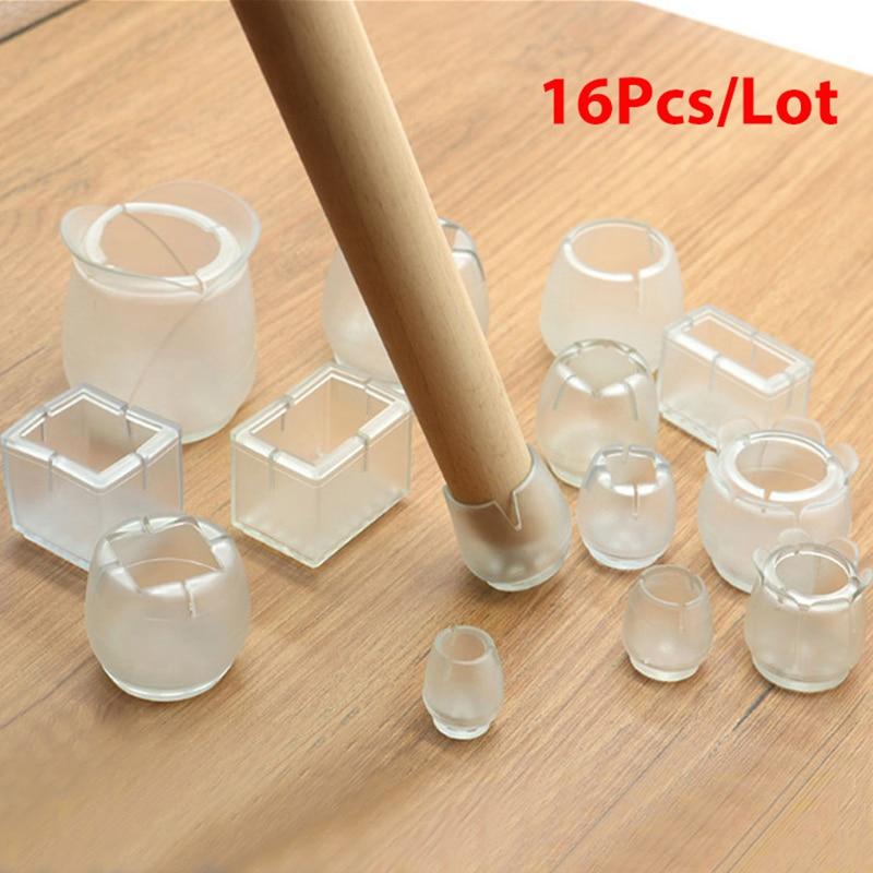 16 Buah/Banyak Meja Kursi Leg Mat Silikon Non-Slip Table Kursi Leg Caps Perlindungan Kaki Bagian Bawah Bantalan Kayu pelindung Lantai
