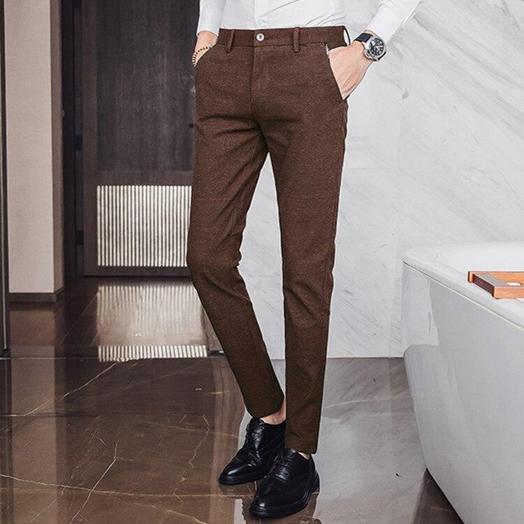 The Xu Men'S Wear | 2019 Autumn Men's Trousers Brushed Craft No Ironing Korean-style Slim Fit Elegant Straight-leg Pants Men's C