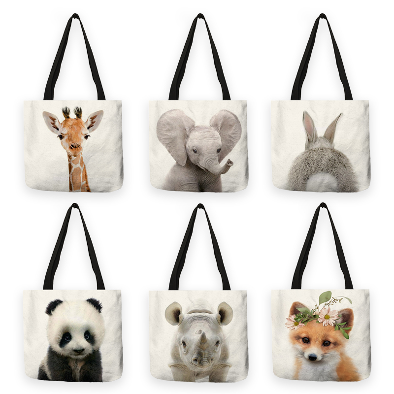 B13016 Cute Animal Series Panda Koala Elephant Print Women Handbag Casual Tote Shopping Bag