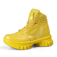 2019 Personality High Top Couple Boots Fashion Solid Color Cool Street Skateboarding Shoes Anti skid Sole Outdoor Sports Shoes|Basketball Shoes| |  -
