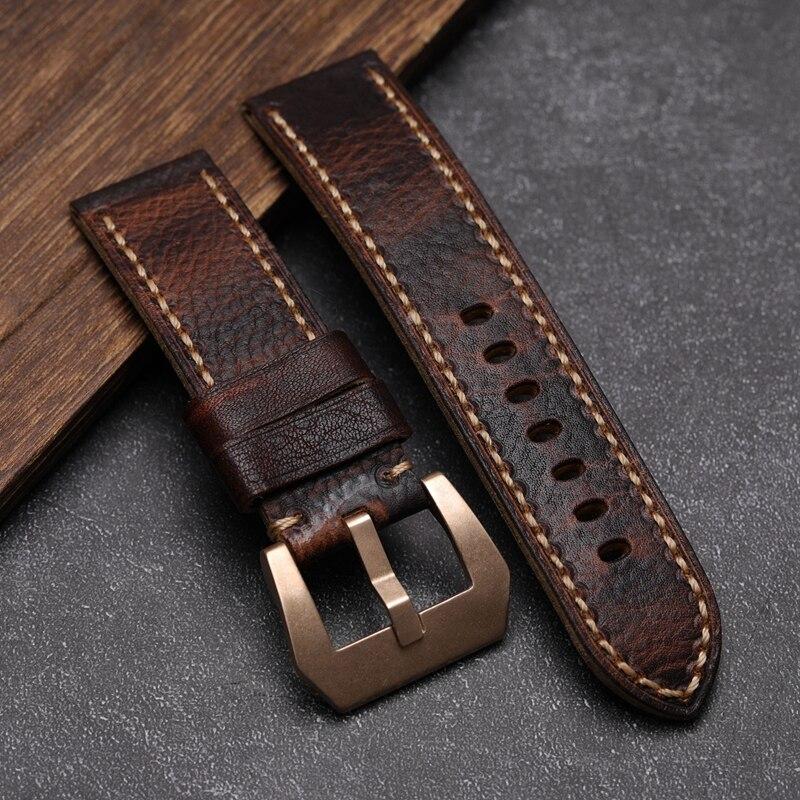 Braun-Rote Erste Schicht Leder herren Uhr Strap Cusn8 Retro Schnalle, 20 22 24 26MM Geeignet Für PAM111Copper Uhr