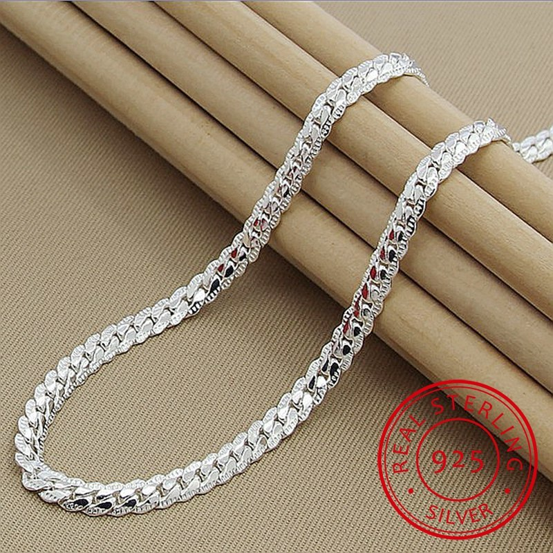 Silver Necklace Fine-Jewelry 925-Sterling-Silver Female High-Quality Women Fashion 6mm title=