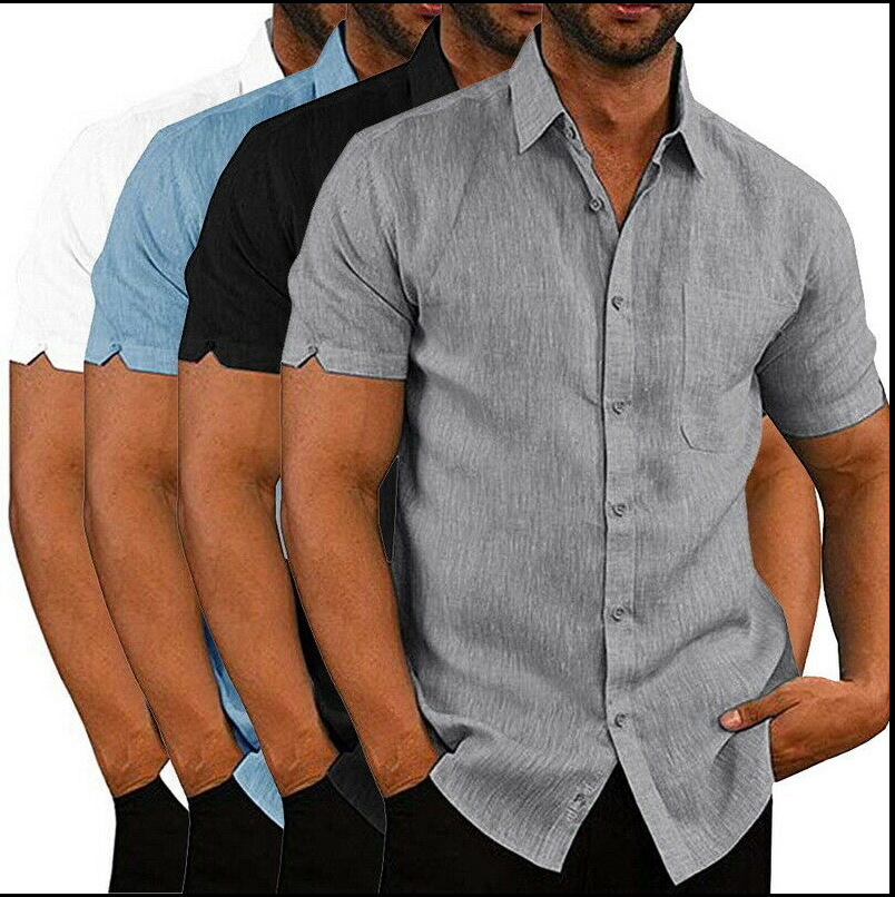 2020 Men Summer Lapel Pure Color Short Sleeve Shirt Youth Casual Cotton Shirt