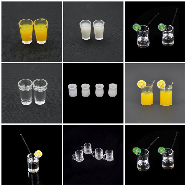 1:12 Dollhouse Resin Mini Lemon Water Cup/Orange Juice/Coffee/Tea Drink Cup  Miniature Dollhouse Accessories Cups Toy Gifts