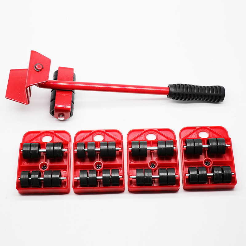 5PCS Furniture Transport Roller Set Removal Lifting Mobile Moving Tool Heavy Move House Omnidirectional Wheels Rack With Wheels