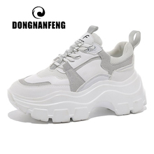 DONGNANFENG Female Women's Genuine Leather White Shoes Sneakers Platform Spring Breathable Lace Up Sports High Sole 35-40 YL-7