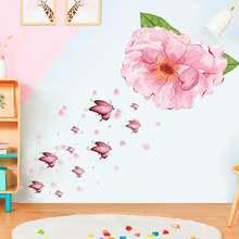 Самоклеящаяся наклейка на стену стикер с цветами пиона для дома