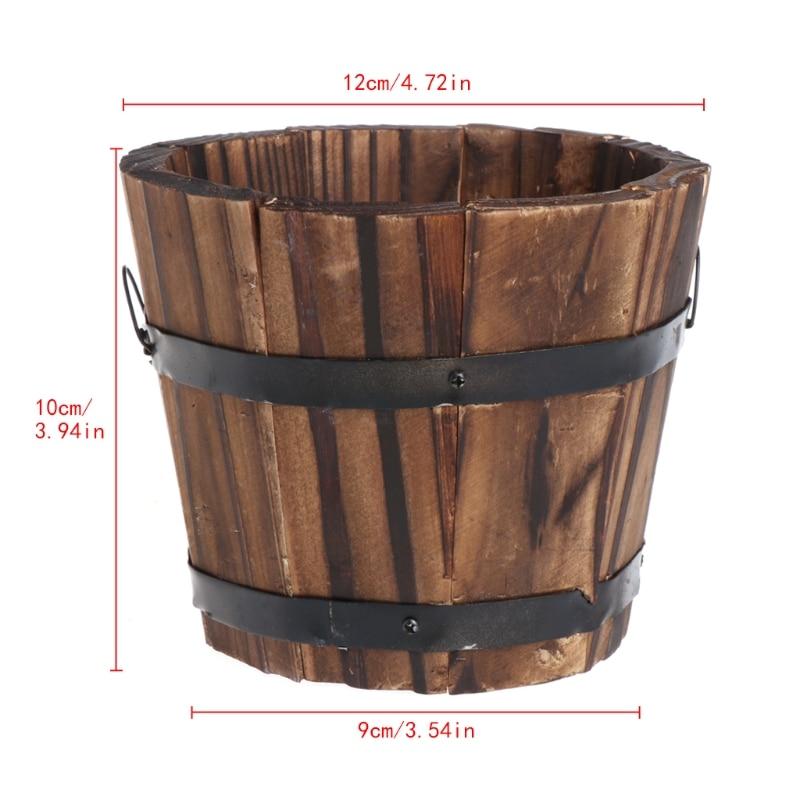 Retro Round Wooden Flower Pots Planter Barrel Home Garden Outdoor Decoration(China)