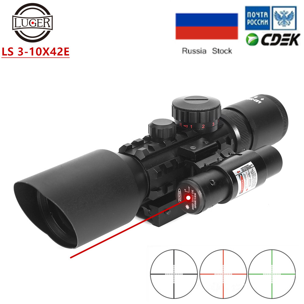 Tactical M9 3-10x42 Prism Scope Hunting Riflescope Red Green Dot Illumination Optic Collimator Red Laser With Dovetail For Rifle
