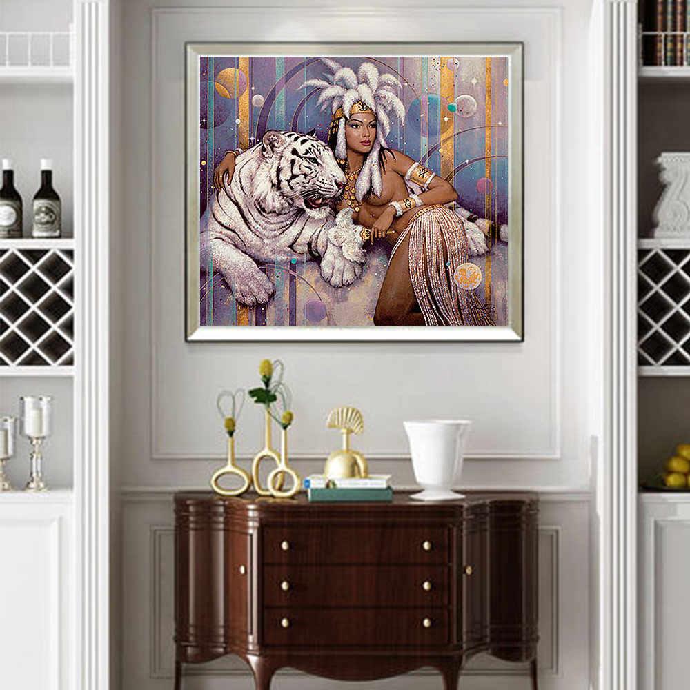 Belle bête Moge diamant peinture pleine tige ronde animal portrait nouveau bricolage jouet collant perceuse croix broderie 5D coutumes ethniques