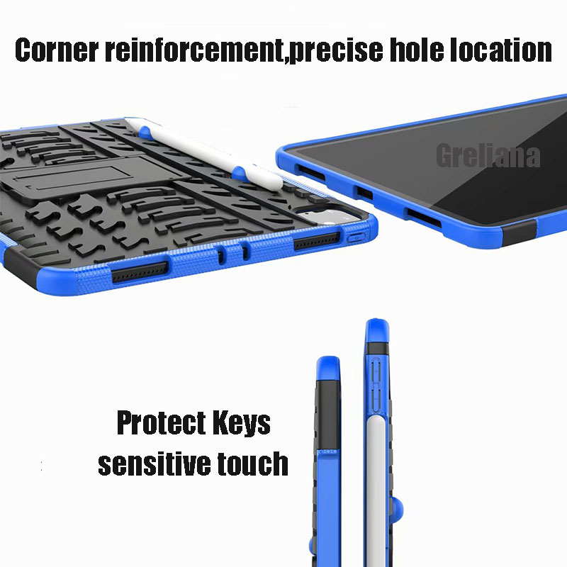 For Shockproof Armor Pro New iPad Case With Holder Pencil Stand Case 11 Flip 2020 Cover