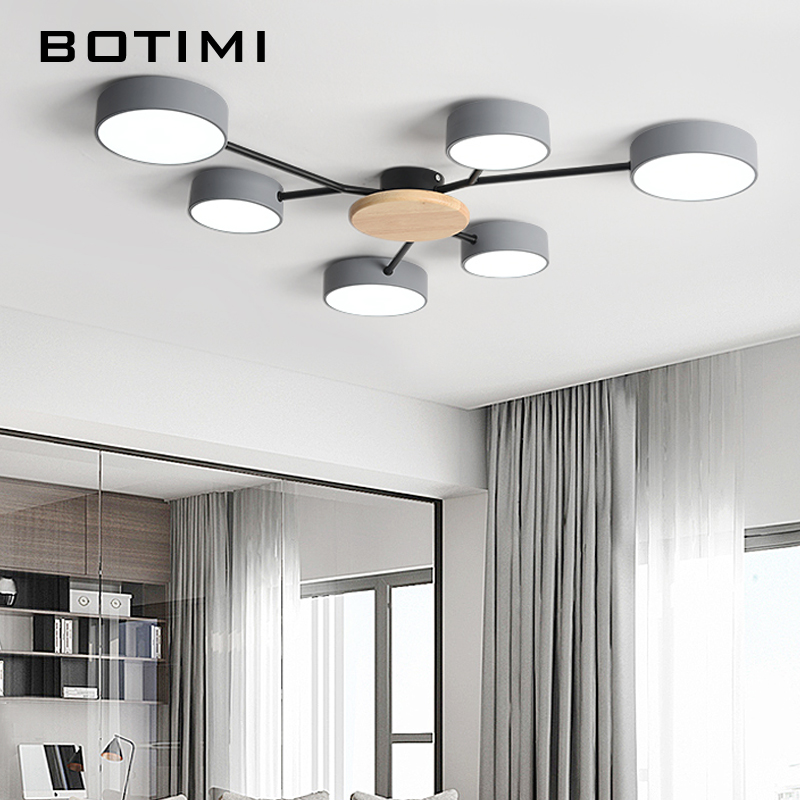 lowest price BOTIMI New Arrival Modern LED Chandelier With Round Gray Metal Lampshades For Living Room Nordic Ceiling Mounted Bedroom Lustre