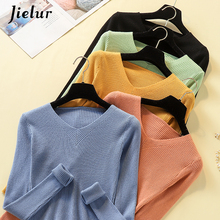 Jielur Chic Pullovers Women Knitting Sweaters 2019 New Autumn Winter Solid Color V-neck Slim Long Sleeve Pullover Sweater