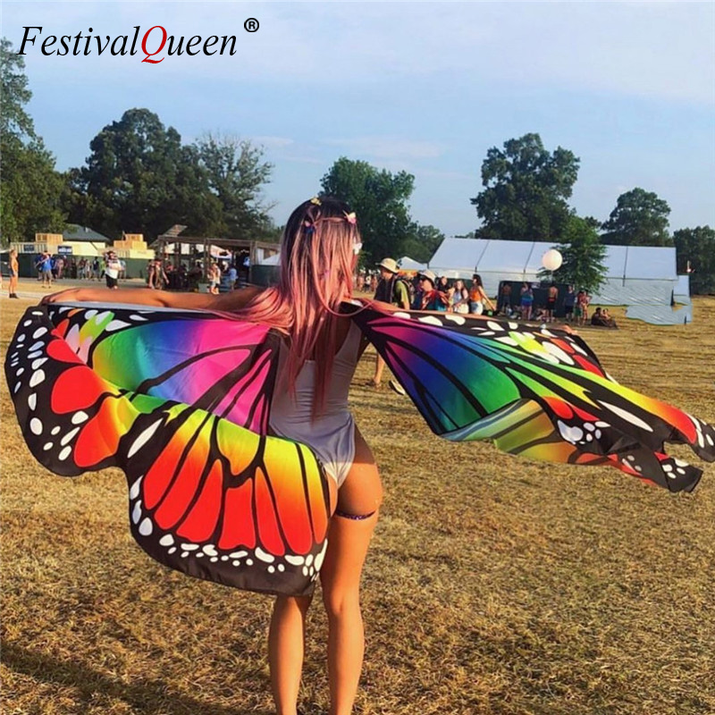 Rainbow Butterfly Wings For Women Belly Dance Fashion 360 Degree Big Butterfly Props Stage Performance Rave Festival Big Wings