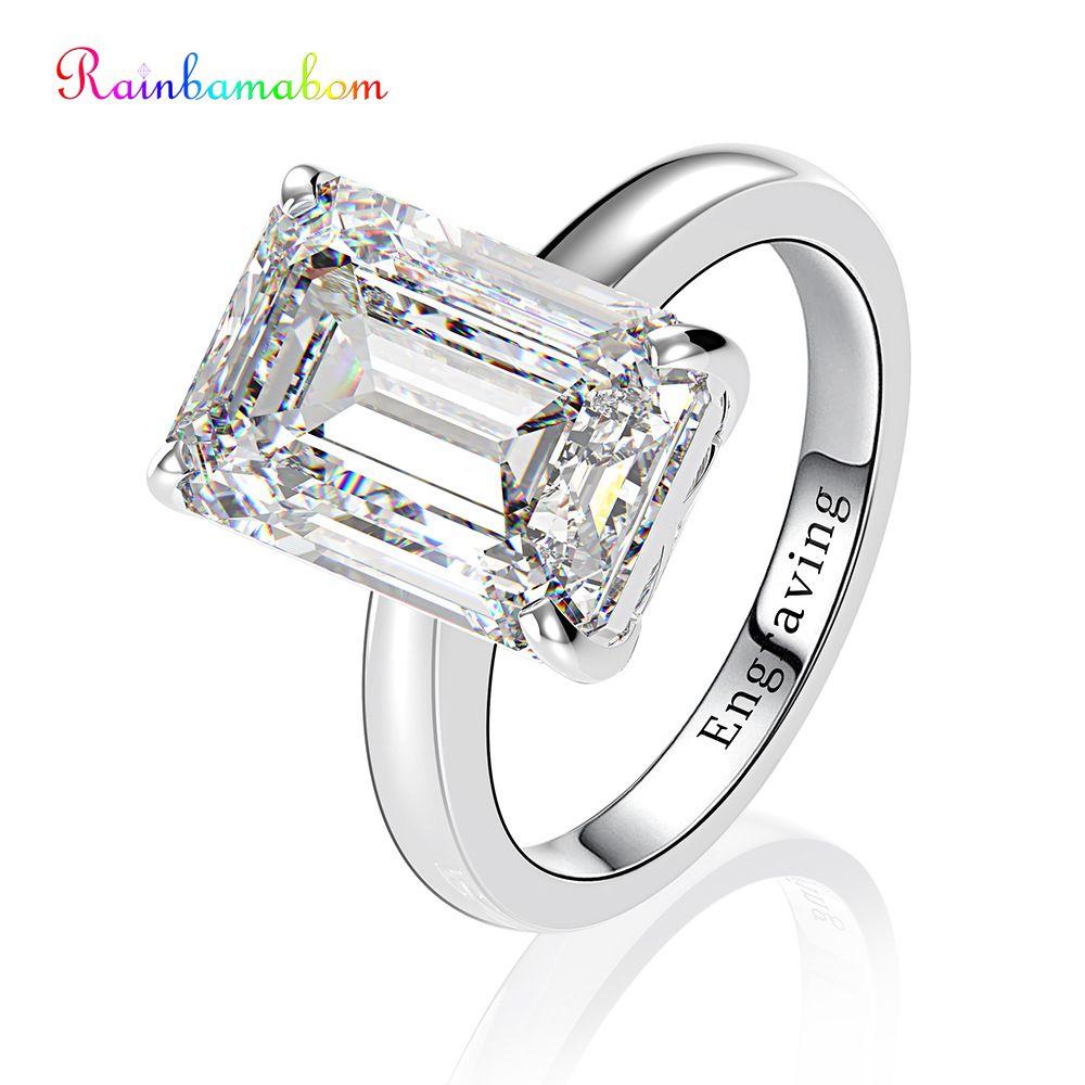 Rainbamabom 925 Solid Sterling Silver Created Moissanite Gemstone Wedding Engagement Diamonds Ring Fine Jewelry Gifts Wholesale