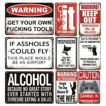 알코올 슬로건 금속 주석 기호 맞춤 경고 금속 접시 로그인 레트로 농가 마당 및 정원 장식 금속 포스터 플 라크
