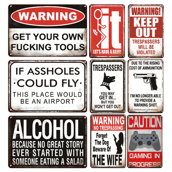 Alkohol Slogan metalowy znak blaszany spersonalizowane ostrzeżenie metalowa płytka znak Retro dom wiejski i ogród dekoracja metalowy plakat tablica