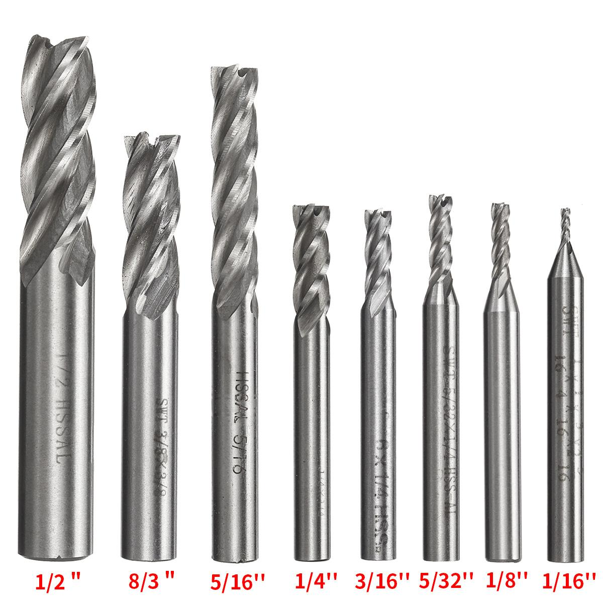 8 Pcs 4 Flute End Mill High Speed Steel Cutter CNC Drill Bit Tools USA