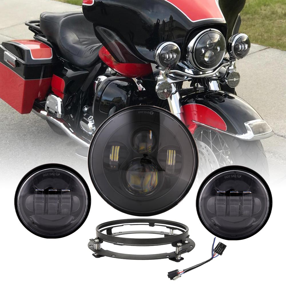 For Harley  Light Set 7inch Led Projector motor Headlight   4 1 2 Passing Lights For Harley Touring Electra Glide Softail Fat Boy