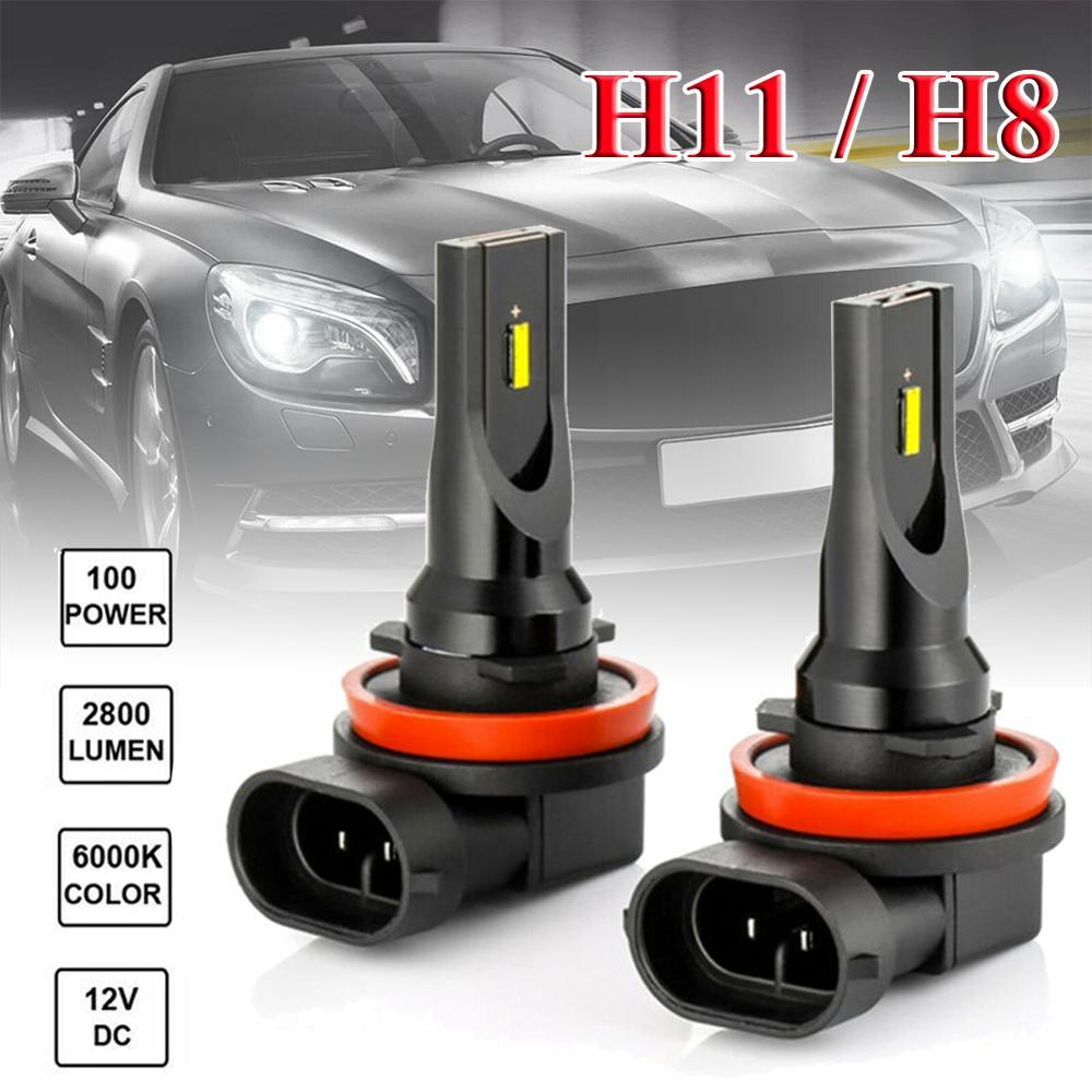 IP65 Waterproof 2PCS H11 H8 LED Fog Light Conversion Kit Bulb High Power 1860 LED Chips 6000K 100W Headlight Carro Wholesale CSV
