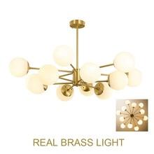 Bola redonda moderna globo de vidro conduziu a luz do candelabro cobre latão foyer sala jantar modo dna lustre luz led lâmpada