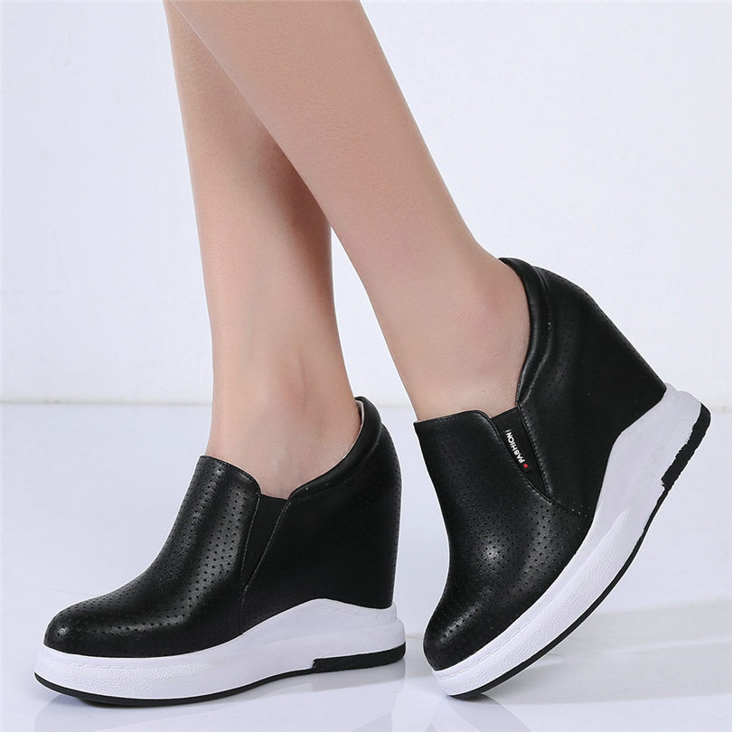 Breathable Oxfords Women Genuine Leather Wedges High Heel Platform Pumps Shoes Female Round Toe Fashion Sneakers Casual Shoes