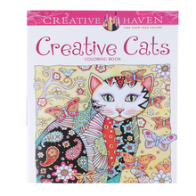18.5*21cm 12Page Cat Coloring Book For Children Adult Relieve Stress Kill Time Drawing