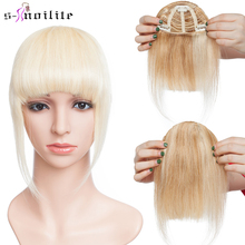 S-noilite 25g Human Hair Blunt Bangs Wig Natural Black Brown Invisible Fake Non-Remy Hair Piece Clip In Fringe Hair Extensions
