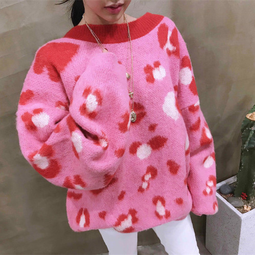 SHIJIA 2019 Winter Knitted Jumper Female Pink Leopard O-neck Warm Sweater Woman Chic Fashion New Sweaters Korean