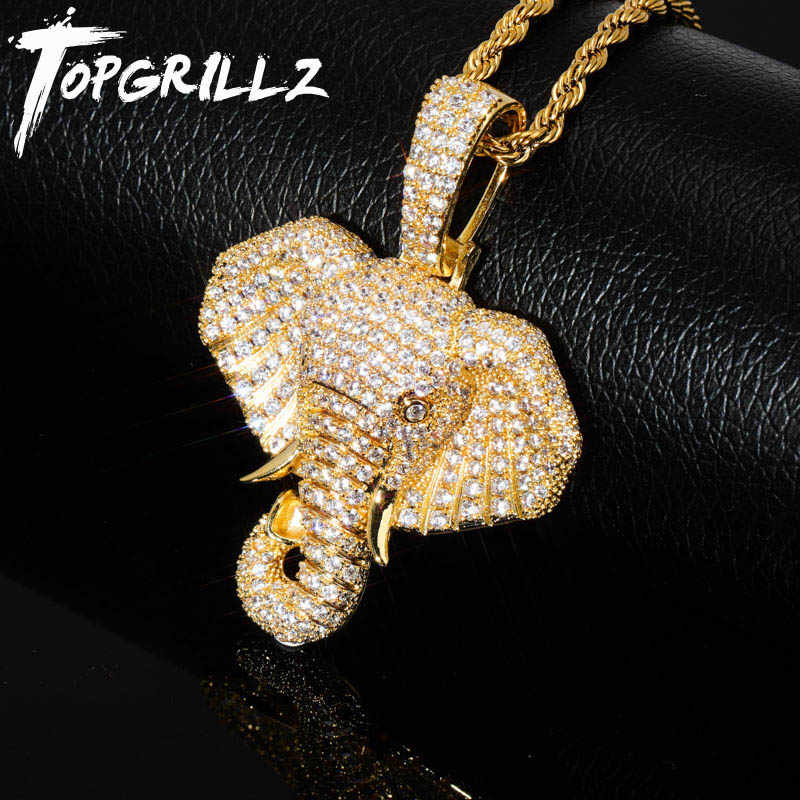TOPGRILLZ Iced Out Cubic cyrkon Bling zwierząt słoń naszyjnik i wisiorek mężczyźni kobiety Hip Hop Rock biżuteria naszyjnik cz na prezenty