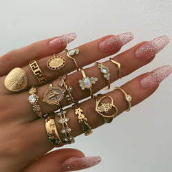 15Pcs/Set Vintage Gold Coins Rings Set Cross Fatima Hand Knuckle Rings Set For Women Jewelry 2020