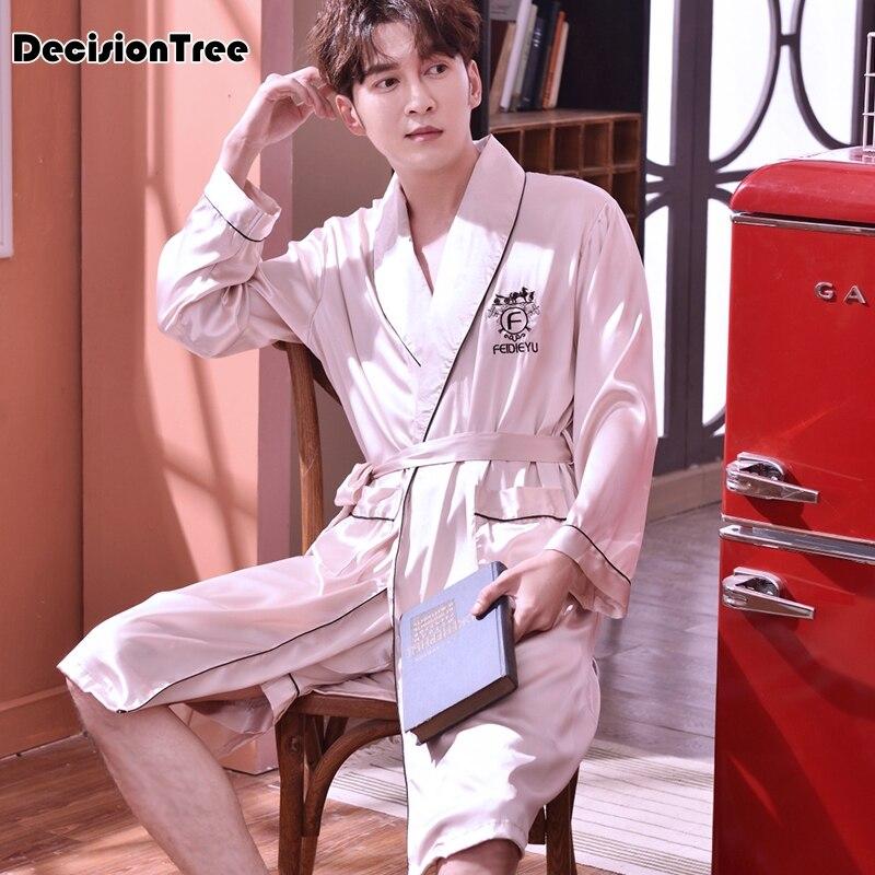 2020 Mens Silk Satin Robes Pajamas Long Sleeve Solid Sleepwear Kimono Male Bathrobe Leisure Men Loungewear Dressing