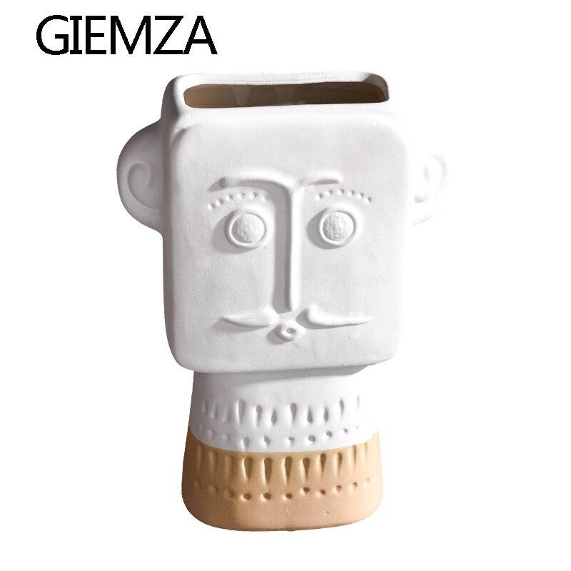GIEMZA White Portrait Vases 3 D Vase with Face Men Ceramic Home Decor Floor Vase Outdoor Decorative