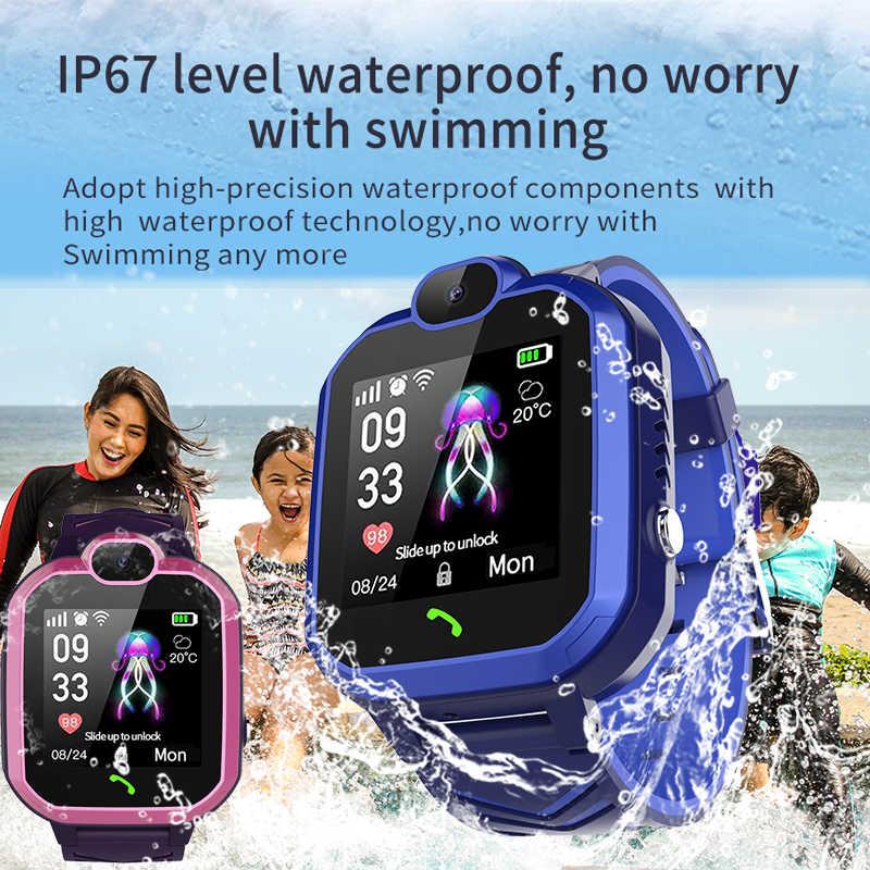 ييج 2019 جديد كيد ساعة ذكية IP67 للماء الأطفال الطالب Smartwatch SOS مكالمة طوارئ LBS المواقع تعقب الاطفال ووتش