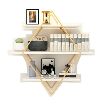 Ins wrought iron creative ornament bookshelf wall storage rack wall-mounted living room bedroom solid wood word board