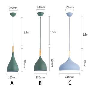 Image 2 - Luces colgantes de Lustre multicolor iluminación colgante de madera para restaurante, accesorios de iluminación de cocina, lámpara LED moderna para Loft E27