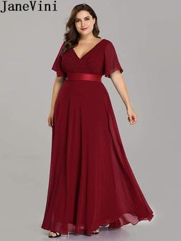 JaneVini Ladies Chiffon Long Mother of the Bride Dresses Plus Size Pleat Elegant Groom Mother Party Dress robe mere de la mariee 5