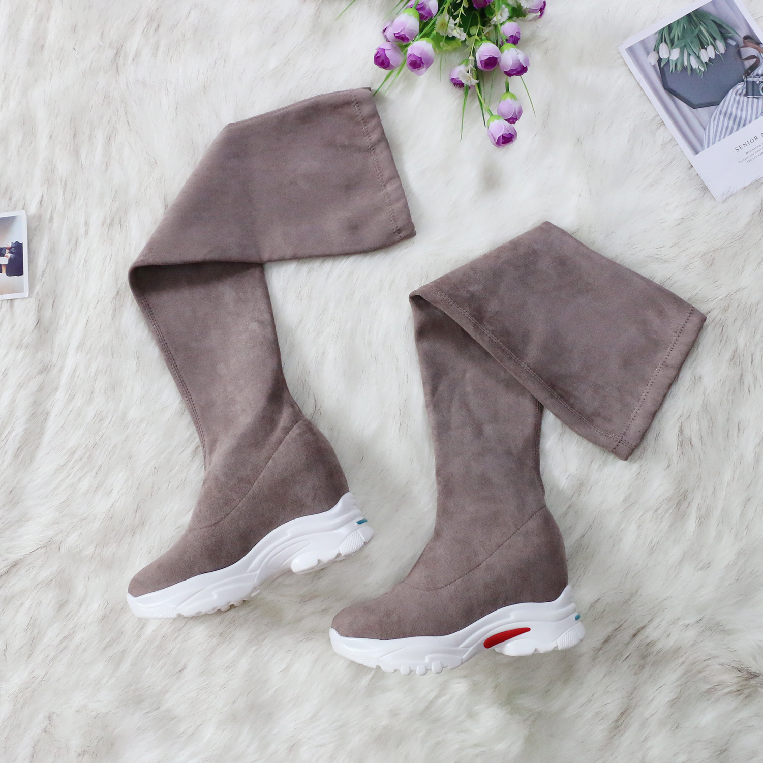 QUTAA 2021 Platform Casual Winter Over The Knee Women Boots Stretch Flock Wedges Heel Women Shoes Autumn Winter Boots Size34-43