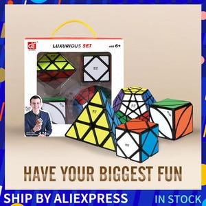 Image 1 - Mofangge 3*3*3 קסם קוביות מהירות מפואר קוביית קוביית סט 4pcs 3*3/4*4/5*5 מקצועי חידות קוביות למידה צעצועים לילדים