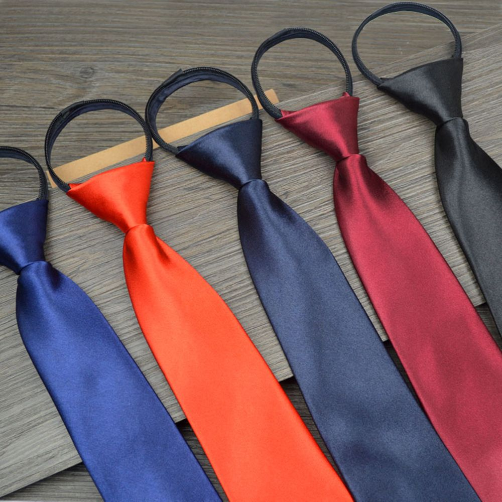 Fashion Neck Tie Mens Skinny Zipper Ties Solid Color Slim Professional Uniform Ties Bridegroom Wedding Party Dress Necktie