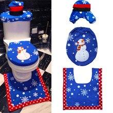 3pcs Fancy Christmas Santa Claus Toilet Seat Lid Cover Contour Rug Set Bathroom Xmas Supplies Decoration christmas decoration snowman pattern 3pcs toilet seat cushion cover set