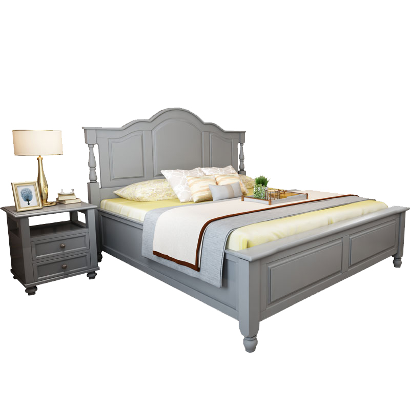 Solid Wood Bed 1 8 M American Bed Grey Master Bedroom Furniture Modern Minimalist Bedroom Pure Solid Wood Ins Net Red Double Bed Beds Aliexpress