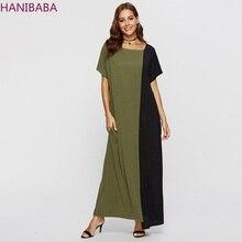 Muslim Style Simple Long Dress Army Green Black Colorblock Short Sleeve Loose Cotton Soft Pocket MAXI Dresses Casual Robe Femme недорого