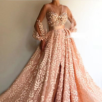 Fashion 2019 Light Pink Floral Dress High Quality Embroidery Applique Mesh Long Dress Elegant Celebrity Party Dresses Vestidos