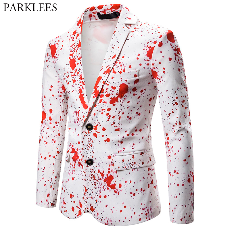 Men's Bloody Harry Party Costume Suit Jacket 2019 Brand New Slim Fit Casual White Blazer Male Christmas Halloween Costume Homme