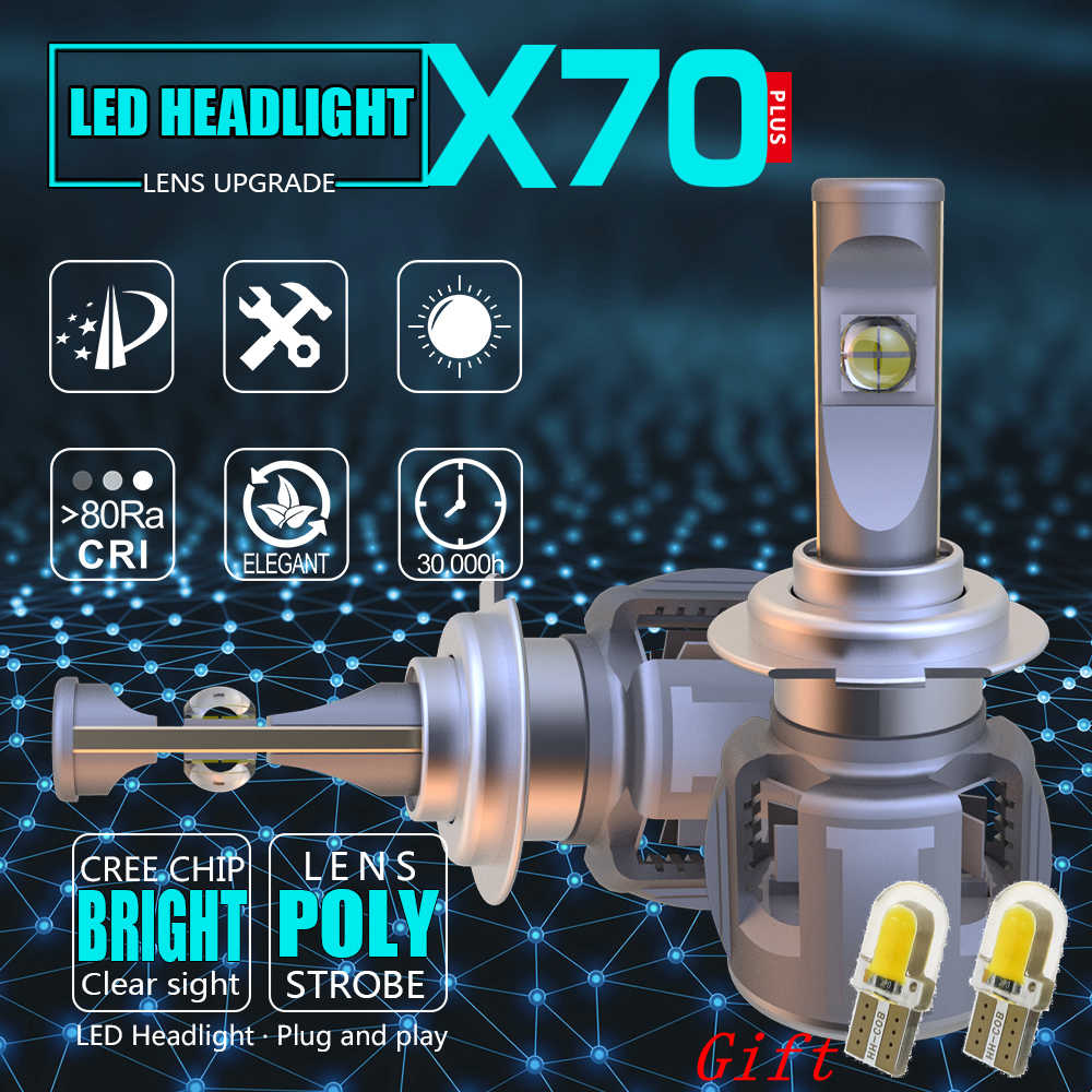 X70 Car LED Headlight Bulbs XHP70 H7 H4 H11 H1 9005 9006 HB3 HB4 9012 H8 H9 D1S D2S D3S D4S Automobiles Front Fog Light Lamp 12V