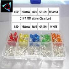 Набор квадратных светодиодов 200 шт./лот 2*5*7 мм, основной цвет, прозрачный, красный, синий, зеленый, желтый, оранжевый, белый, набор диодов 2x5x7 дл...