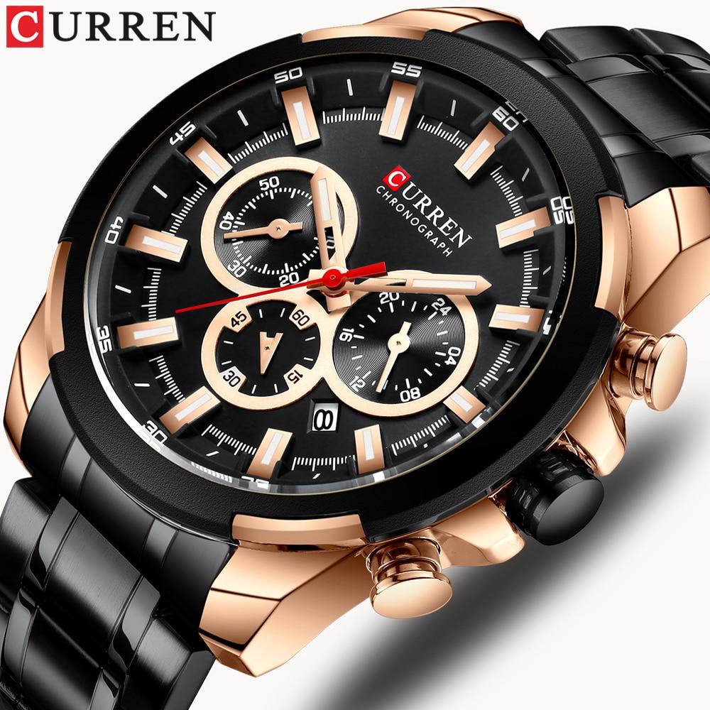CURREN Classic Black Chronograph Men's Watch Sports Quartz Date Clock Male Watch Stainless Steel Wristwatch Relogio Masculino