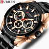 CURREN Classic Black Chronograph Mens Watch Sports Quartz Date Clock Male Watch Stainless Steel Wristwatch Relogio Masculino
