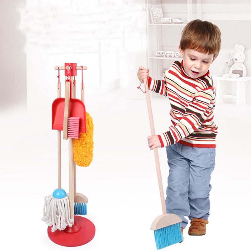 6PCS Children Kids Housekeeping Toys Cleaning Sweeping Mop Broom Brush Dustpan Really Life Toy Playset Child Pretend Play Tool